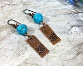 Copper Earrings, Turquoise Earrings, Dangle Earrings, Boho Earrings, Bohemian Jewelry, Tribal Jewelry, Gift for Women, Gift for Mom, Copper