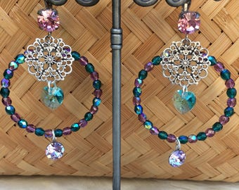 "Colorful romantic Bohemian hoops, brass and swarovski crystal ""Pink and blue"""