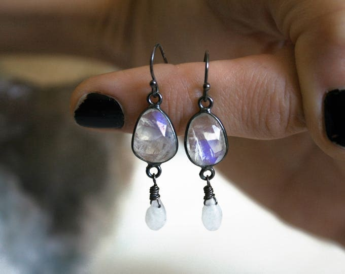 Petite Rainbow Moonstone Sterling Silver Drop Earrings // Rainbow Moonstone Dangle Earrings