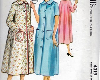 """Vintage 1957 McCall's 4319 Robe Or Housecoat Sewing Pattern Size 16 Bust 36"""""""