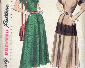 """Vintage 1940's Simplicity 2771 One Piece Dress Sewing Pattern Size 14 Bust 32"""""""