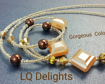 Beaded Lanyard Caramel Sparkle LQ Delights by LQ Expressions