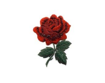 Rose - Flower - Garden - Red Rose - Love - Embroidered Iron On Applique Patch