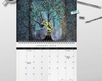 2018 Meditation Wall Art Calendar by artist Rafi Perez - Signed By The Artist