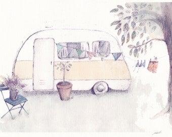 Vintage Caravan Print- Caravan Illustration