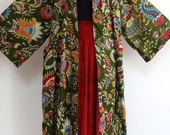 Reserved kimono dressing gown green and multicolor designs with a matching Burgundy pants pailsley