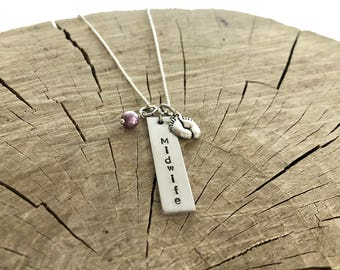 Midwife Gift Necklace -  Hand Stamped - Feet Charm - Choice of Pearl - Midwifery