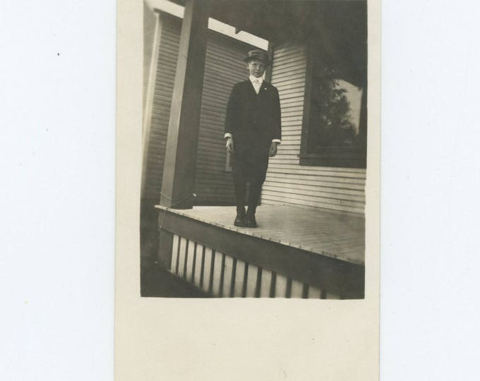 "Vintage Snapshot Photo RPPC: ""Glen, just after recovering from the measles, 8 years old"" c1910s (75583)"