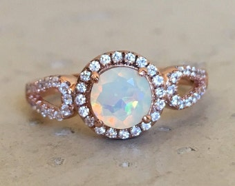 Opal Ring Rose Gold- Opal Engagement Deco Ring- Welo Double Band Promise Opal Wedding Bridal Halo Anniversary Solitaire October Ring