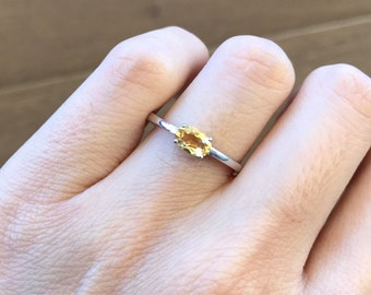 Stackable Oval Citrine Ring- Small Yellow Topaz Ring- November Birthstone Ring- Sterling Silver Childrens Ring- Simple Dainty Boho Ring