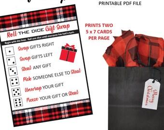 Gift Exchange Game - Christmas Ornament Exchange - Christmas Gift Swap - White Elephant Gift Exchange - Printable Game - Lumberjack Plaid