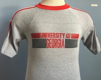 80s Vintage Georgia Bulldogs University ncaa college T-Shirt - SMALL