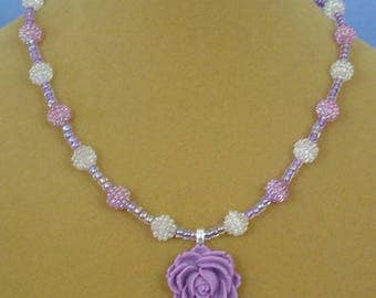 "Delicate and Sparkly 18"" Lavender Rose Necklace - N550"