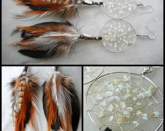 Opal Bohemian Hippie Dream Catcher Earrings in Silver with Hand Arranged Feathers by The Emerald Lotus