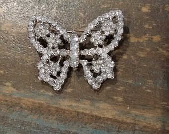 Rhinestone Butterfly Pin Brooch