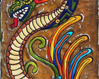 Quetzalcoatl Feathered Serpent inspired distressed metal plaque