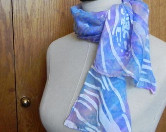 Long Devore satin silk scarf hand dyed shades of blue and lavender is ready to ship, silk scarf #547