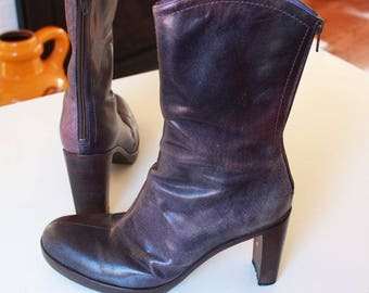 Vintage Purple Leather Ankle Boots Sz40 by Vic Matie Italy