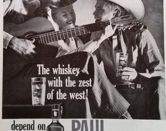 Cowboys Party Cowgirls 60s Paul Jones Whiskey Fun times Partying Group Guitar Slinging Karaoke Tumbleweed Songs 13x10 Ready for Frame