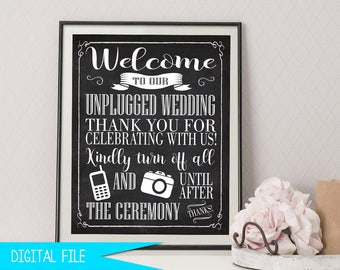 Unplugged Wedding Sign - Unplugged Ceremony Sign - Chalkboard Unplugged Sign - Wedding Ceremony Sign - Vintage Wedding Sign - Printable