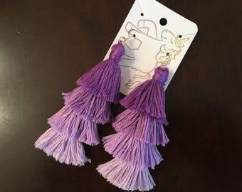 Purple Ombre Tassel Fringe Earrings