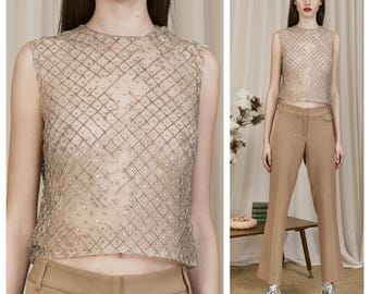 vintage 50s/60s sheer mesh net beaded crystal studded tank top camisole