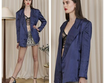 vintage 80s/90s LANVIN midnight blue silk satin oversized slouchy tuxedo blazer jacket