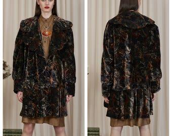 vintage 70s/80s French velvet jewel tone paisley print butterfly collar velvet coat