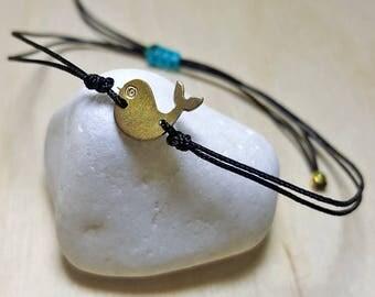 Cord Bracelet, Sterling Silver Charm Bracelet, String Bracelet with Charm, String Bracelet Adjustable, Ocean Bracelet, Whale Bracelet