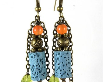 River - Earrings pearls bronze lava semi precious.