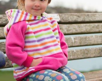 Fleece Hoody, Pastel Stripe 1-4y