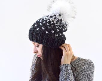 Knit Chunky Fair Isle Pom Pom Slouchy Hat Beanie Toque | The Norwich