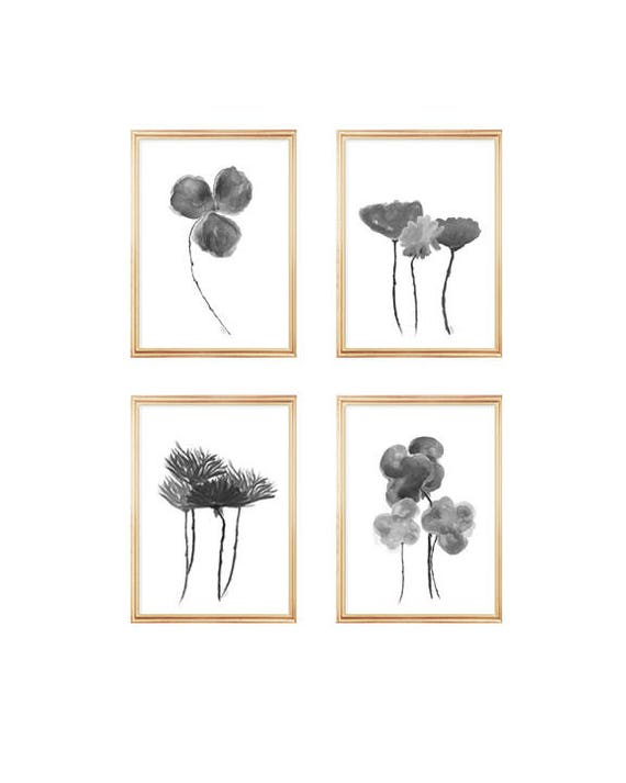 Black and White Watercolor Flowers, Set of 4 in 5x7 or 8x10