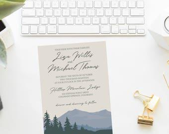 Mountain Themed Wedding Invitation Suite | Mountain Themed Wedding Invitation | Wedding | RSVP Card | Details Card | Mountain Wedding
