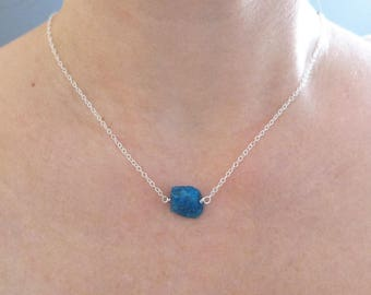 Raw Apatite Necklace, Raw Stone Necklace, Floating Necklace, Raw Crystal Choker