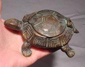 Brass Turtle Trinket Box Ashtray Super Detailing from Greece Flip-top