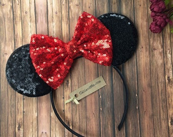 Red and Black Mickey Mouse Ears, Minnie Mouse Ears, Red Sequin Bow Headband, Mouse Ears Birthday Headband, Disney Mickey Ears, Red Mouse Ear