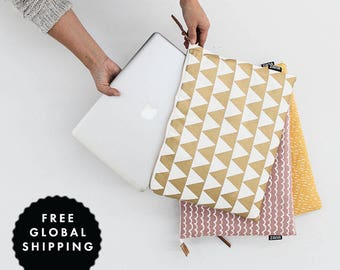 "Modern Laptop Sleeve -  **NOW IN 13"" MACBOOK size** Gold Triangle - MacBook Case One Size Fits Most"