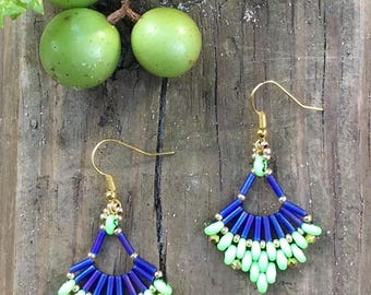 Flabellum Earrings, Beaded Earrings, Fan Earrings, Dangle Earrings, BEaded Dangle Earrings, Beaded Duo Earrings, Christmas Gift Earrings,