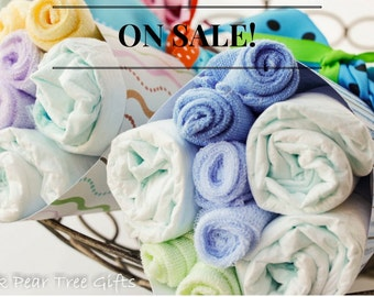 NEW Baby Bouquet, Washcloth Bouquet, Baby Shower Gift - The Kristin Collection
