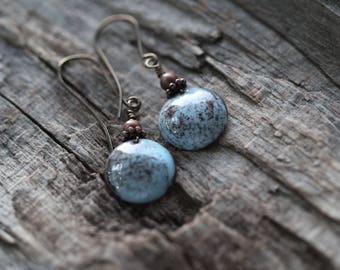 Blue and Brown Torch Fired Copper Enamel Earrings