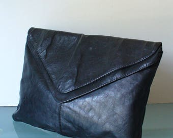 Made in Italy Vintage Double Compartment Large Clutch Bag
