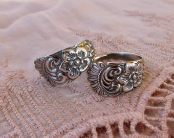 Flower and Feather Spoon Rings Friendship Rings Treasure Grotto