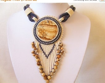 15% SALE Statement Fringe Beadwork Bead Embroidery Necklace with Owyhee Picture Jasper - DESERT WIND - Fall Winter Fashion - Creamy beige, h