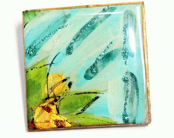 Blue Enamelled and Yellow Flower Square Vintage Brooch (c1980s)