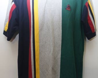 "Rare 80's Vintage ""IZOD"" Colorblocked Designer Polo Shirt Sz: MEDIUM (Men's Exclusive)"