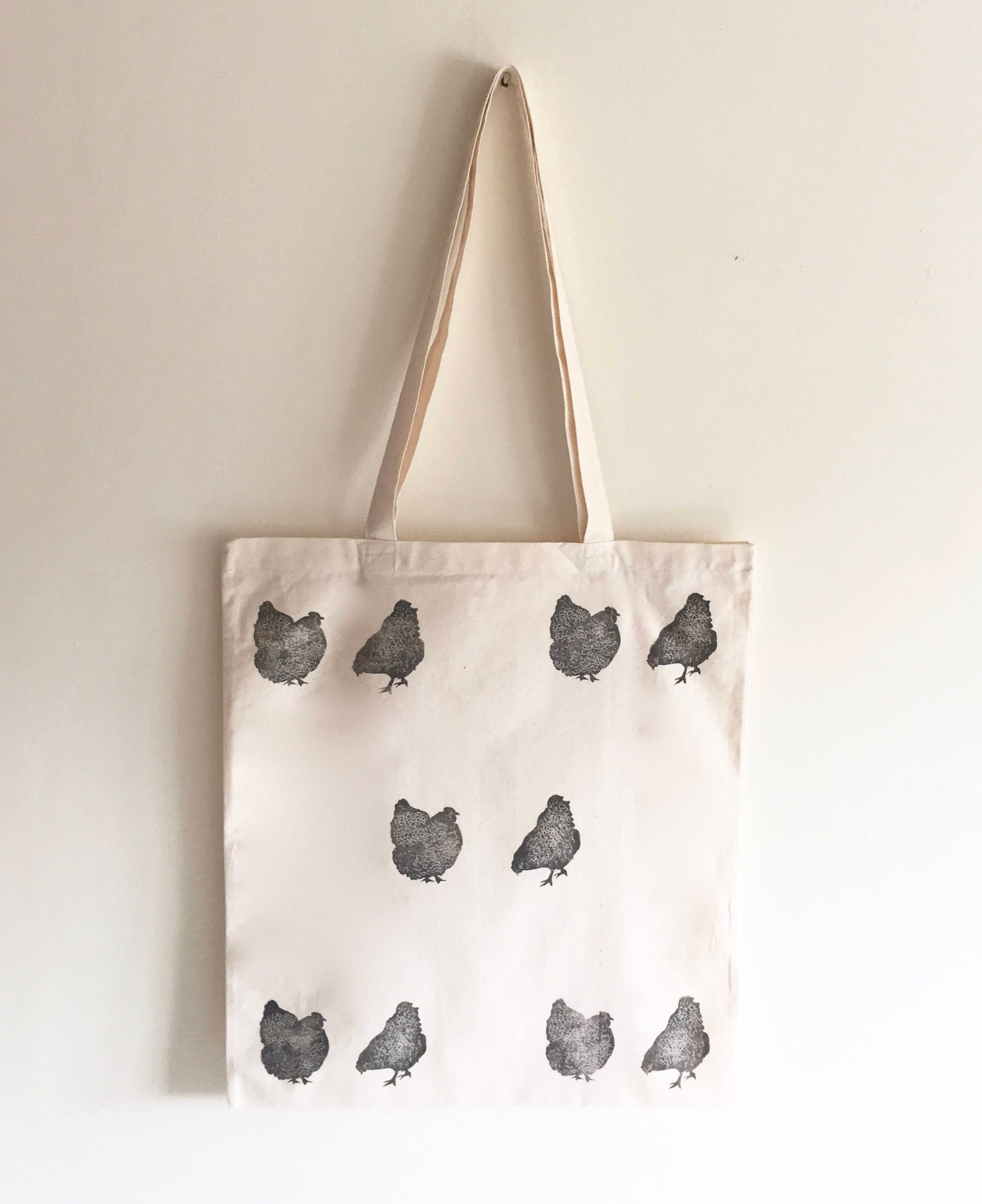 chicken tote bag hen print grey chickens farm animals