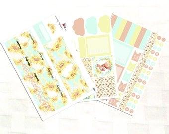 September Monthly View Sunflower Planner Sticker Kit, Vinyl Stickers, Floral, Happy Planner Sized