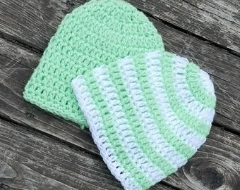 Green Striped Newborn Beanie