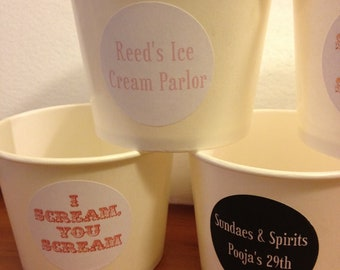 20 White Paper ice cream cups 12 oz with Stickers